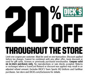 OSC and Dicks Sporting Goods Fall Shop Day Coupon 2016